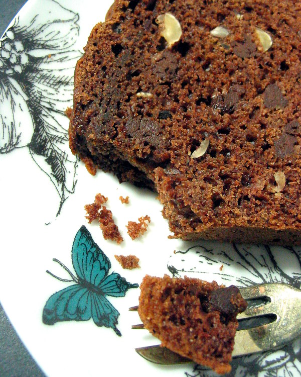 Bite of hazelnut chocolate chip quick bread - a quick bread that tastes like an indulgent slice of cake.