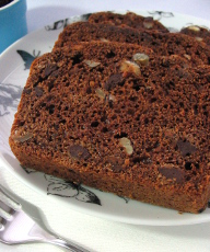 Hazelnut chocolate chip quick bread - try serving warm for an indulgent treat. | sliceofkitchenlife.com