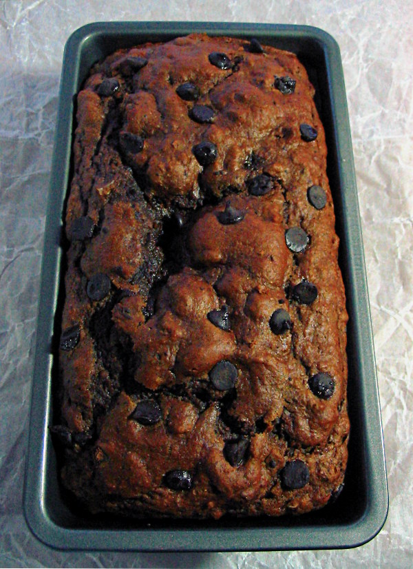 Hazelnut chocolate chip quick bread - try serving warm with vanilla ice-cream!