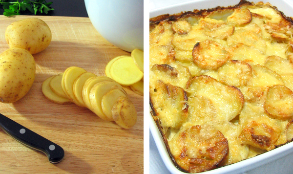 Potato slices and garlic cheesy potatoes.