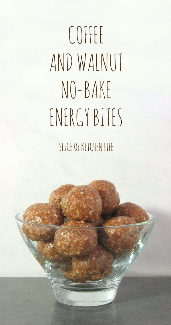 Coffee and Walnut No-Bake Energy Bites - These delicious fudgy bites make a perfect healthy snack | sliceofkitchenlife.com