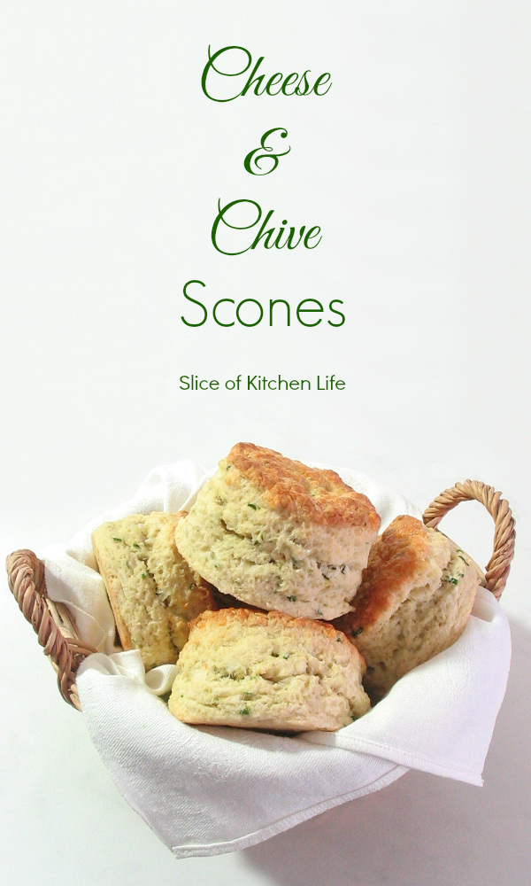Cheese and Chive Scones Recipe - Light and flaky cheddar cheese scones, best served warm! | sliceofkitchenlife.com