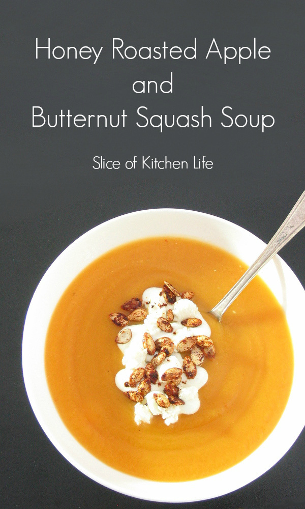 Honey Roasted Apple and Butternut Squash Soup - A creamy and comforting soup with a warming kick! | sliceofkitchenlife.com
