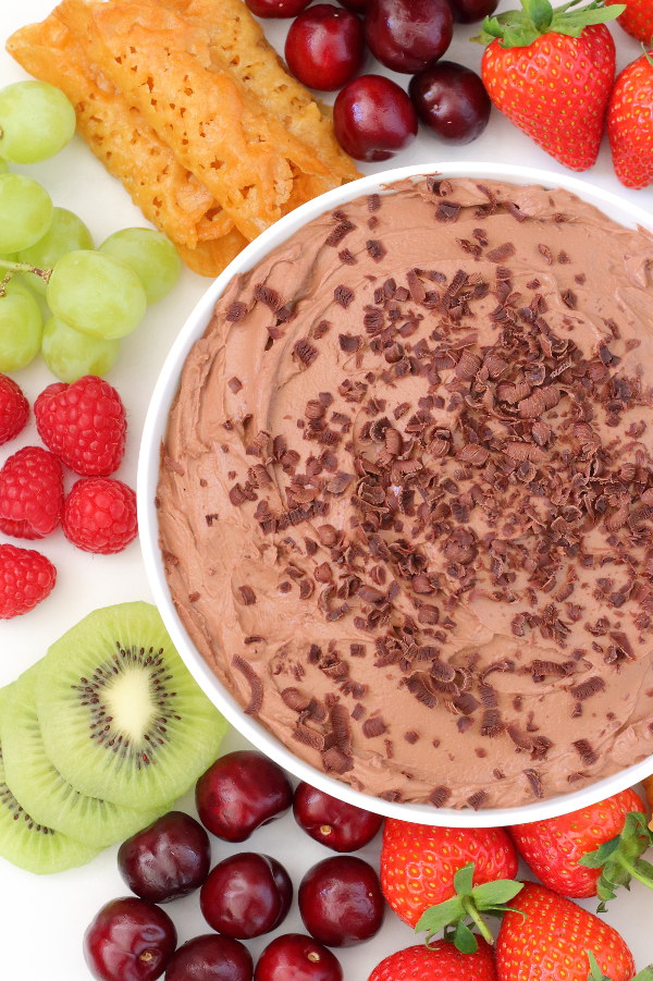 Chocolate Fruit Dip Recipe - Only three ingredients to make this thick, creamy (& healthy) fruit dip!