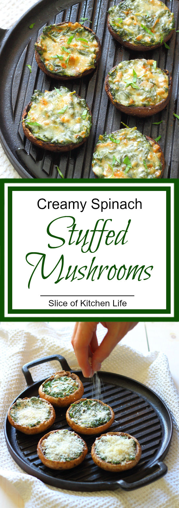 Creamy Spinach Stuffed Mushroom Recipe - Portobello mushrooms stuffed with creamy garlic spinach, then topped with grated parmesan - the perfect summer lunch! | sliceofkitchenlife.com