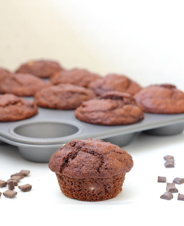 Triple Chocolate Muffins Recipe - Soft, fluffy and tender, lightly sweetened, and stuffed full of chocolate chunks!