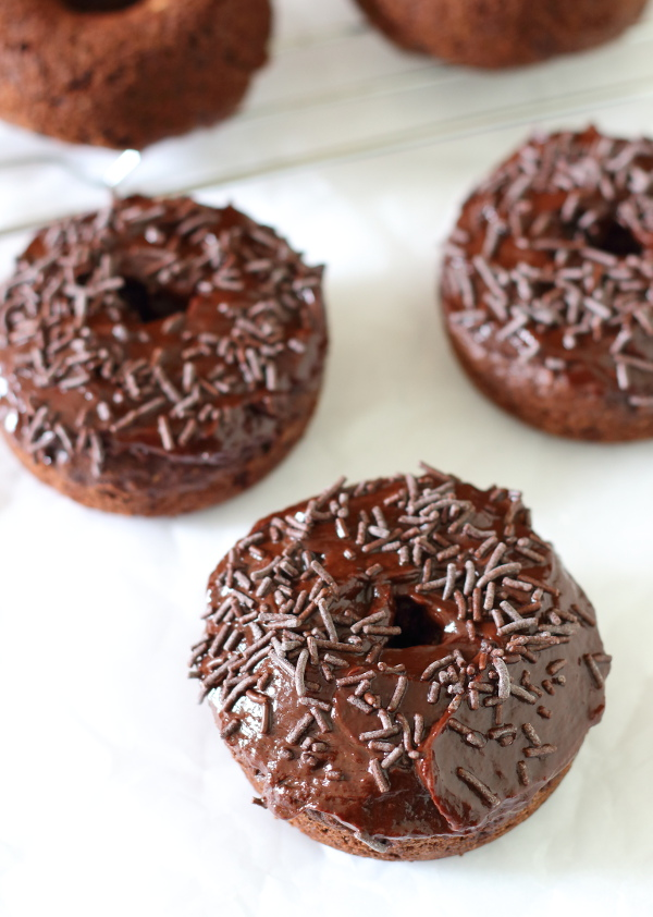 Baked Chocolate Doughnuts Recipe - Soft and fluffy and thickly frosted with a rich mocha ganache, they make getting out of bed worthwhile!