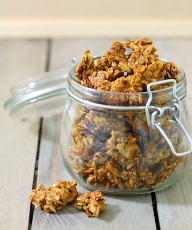 Pumpkin Spice Granola Recipe - Loaded with the flavours of fall and sweetened with honey, these chewy, spicy clusters make a great breakfast parfait. | sliceofkitchenlife.com