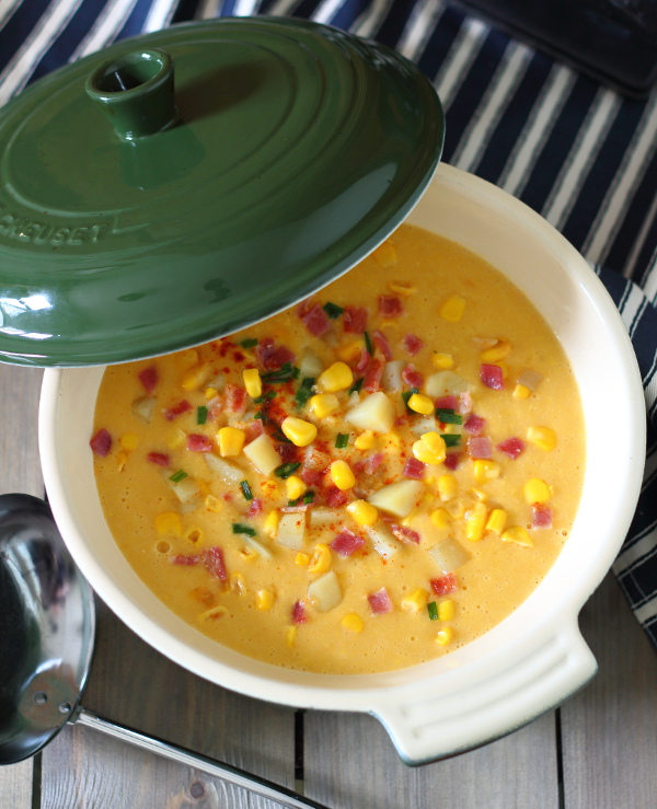 Smoky Bacon and Sweet Corn Chowder Recipe - comforting, hearty and filling, it's a great winter warmer! Only seven ingredients.