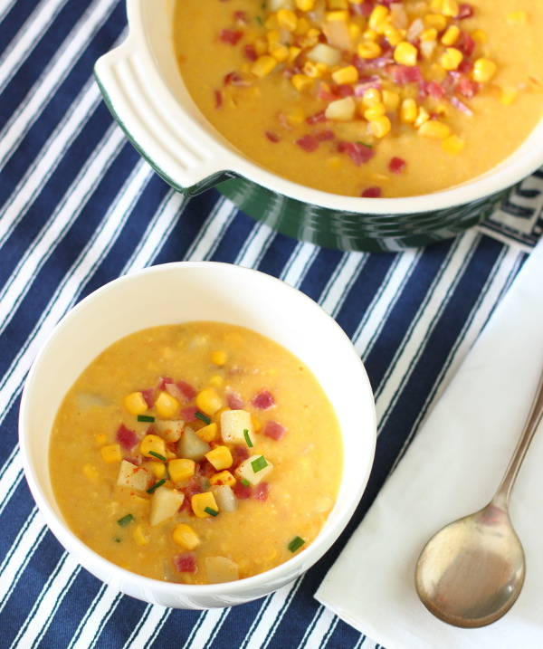 Smoky Bacon and Sweet Corn Chowder Recipe - comforting, hearty and filling, it's a great winter warmer! Only seven ingredients.   sliceofkitchenlife.com