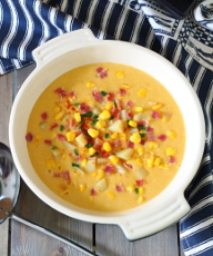 Smoky Bacon and Sweet Corn Chowder Recipe - comforting, hearty and filling, it's a great winter warmer! Only seven ingredients. | sliceofkitchenlife.com